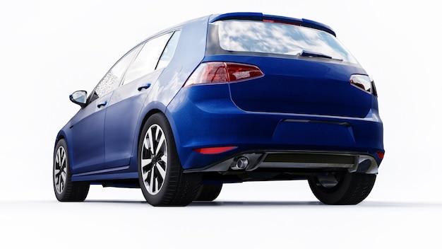 Синий небольшой семейный автомобиль хэтчбек на белом фоне. 3d-рендеринг.