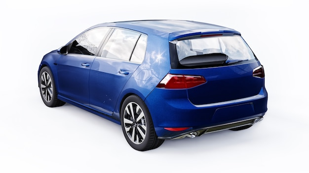 흰색 바탕에 파란색 작은 가족 자동차 해치백입니다. 3d 렌더링.