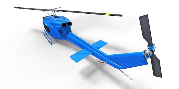 격리 된 흰색 배경에 파란색 작은 군사 수송 헬리콥터 공기 택시 3d 그림