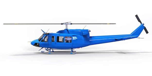 Blue small military transport helicopter