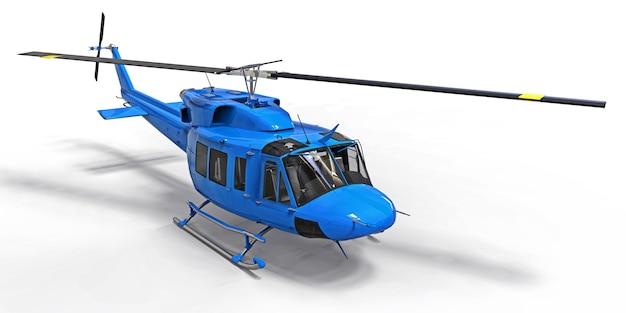 Синий маленький военно-транспортный вертолет