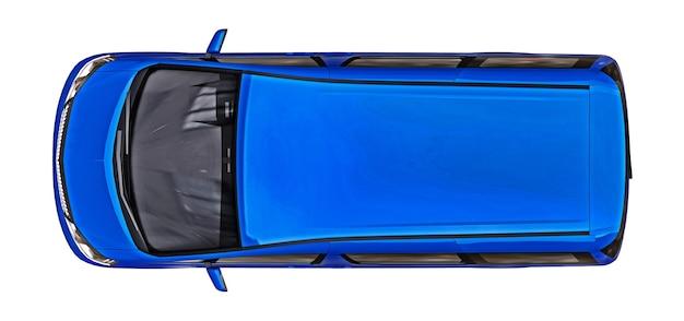 人々の輸送のための青い小さなミニバン3dレンダリング