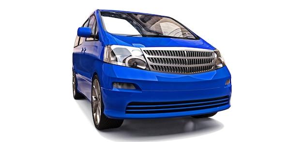 人を運ぶための青い小さなミニバン。光沢のある灰色の背景に立体イラスト。 3dレンダリング。