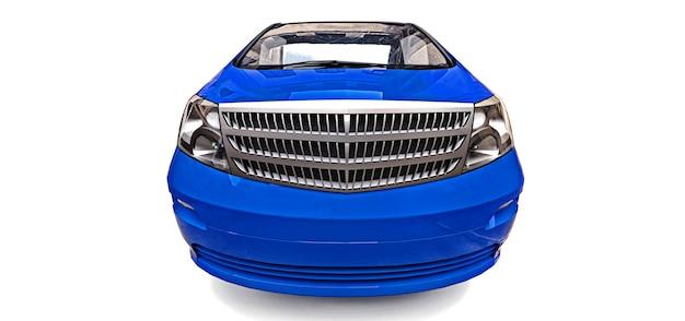 光沢のある灰色の背景の3dレンダリングの青い小さなミニバン3次元イラスト