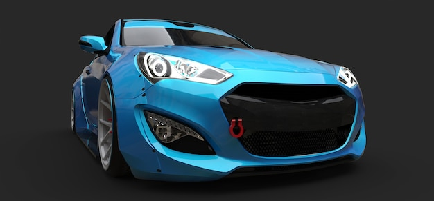 회색 배경에 파란색 작은 스포츠카 쿠페. 3d 렌더링.