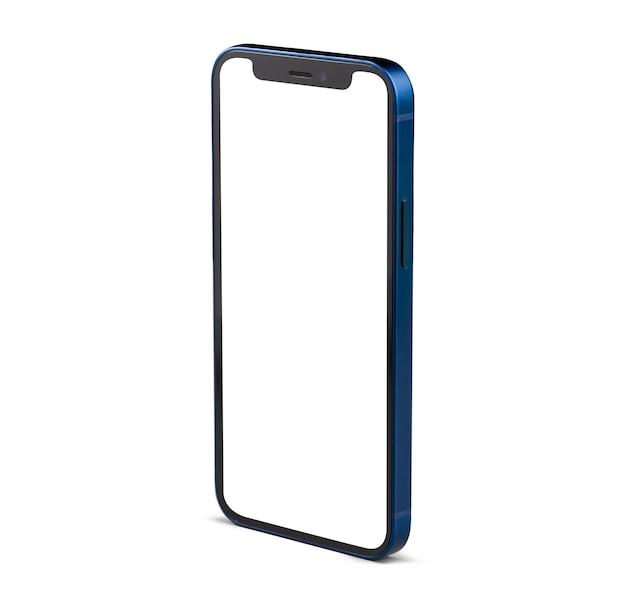 흰색 화면 흰색 절연 블루 스마트 폰