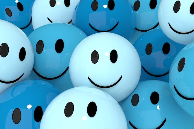 Blue smileys in social media concept 3d rendering