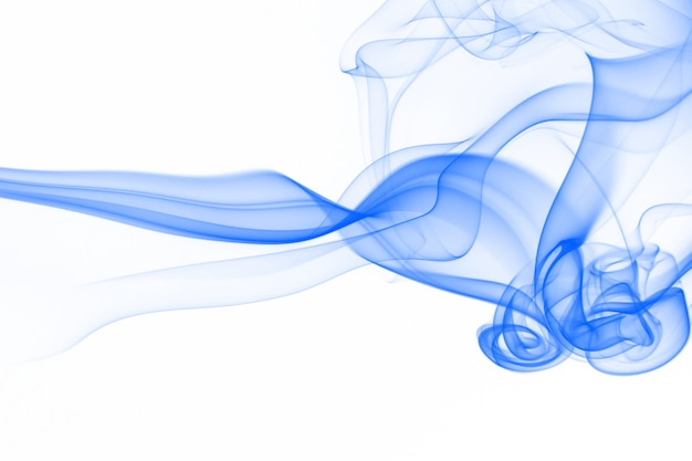 Blue smoke abstract on white background for design.