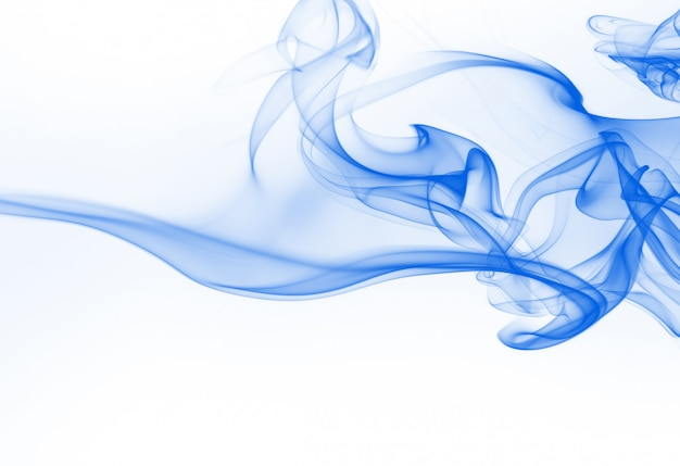 Blue smoke abstract on white background, ink water