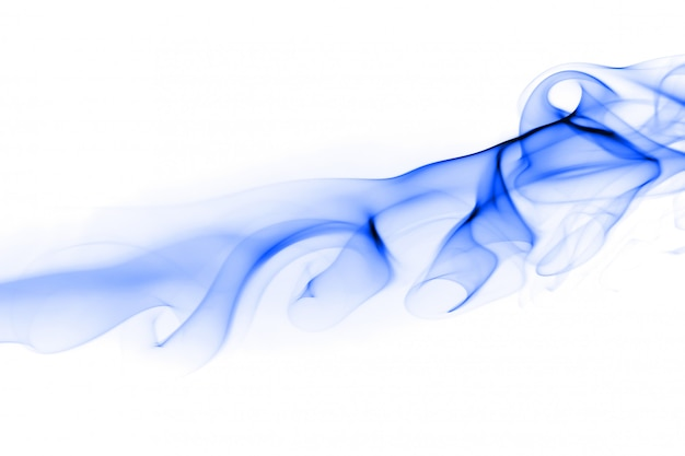 Blue smoke abstract on white, ink water