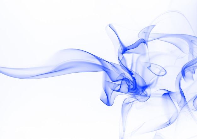 Blue smoke abstract on white