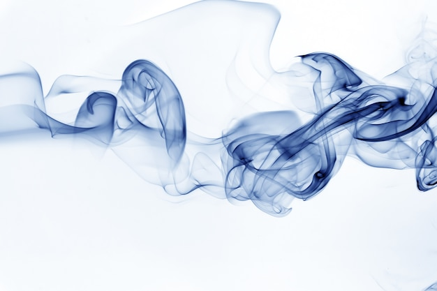 Blue smoke motion abstract on white background