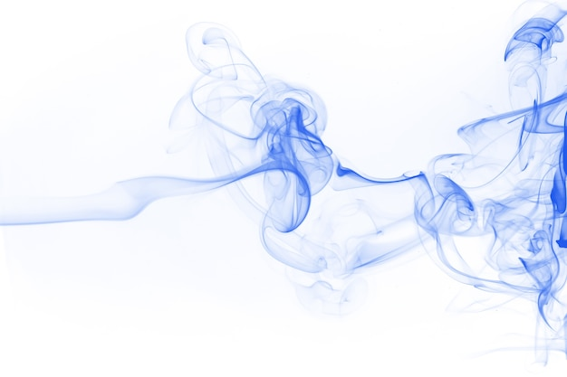 Blue smoke movement on white background