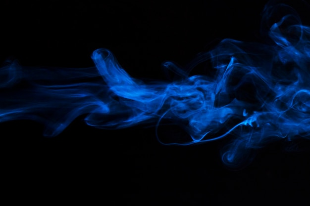 Blue smoke overlay texture movement on black background