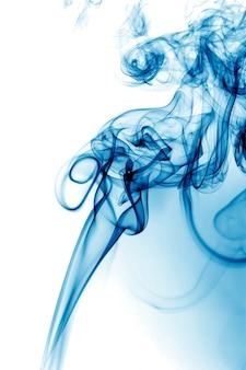 Blue smoke on white background.
