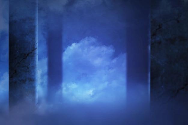 廃墟となった建物のレンガの壁に青い煙が。ハロウィーンの背景