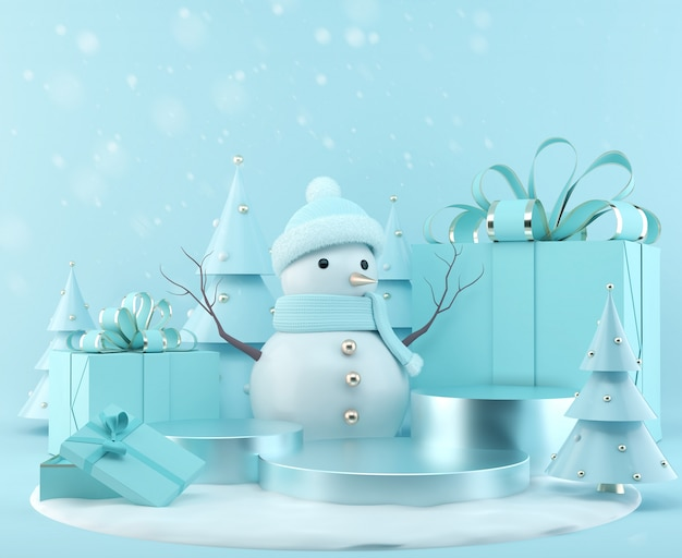 Blue snowman standing with gift box on christmas background, 3d rendering scene podium display with xmas tree.