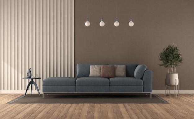 石膏パネルと茶色の壁に対してモダンなリビングルームの青いソファ-3dレンダリング