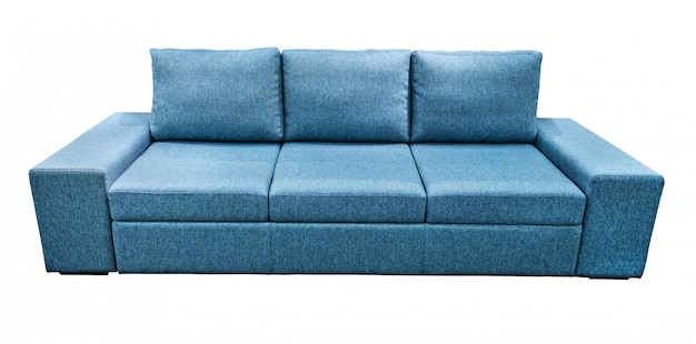Blue sofa. soft velour fabric couch.