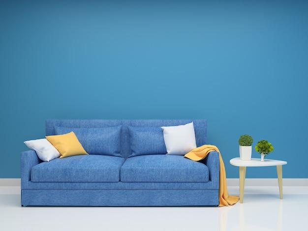 Blue sofa and wall living room interior