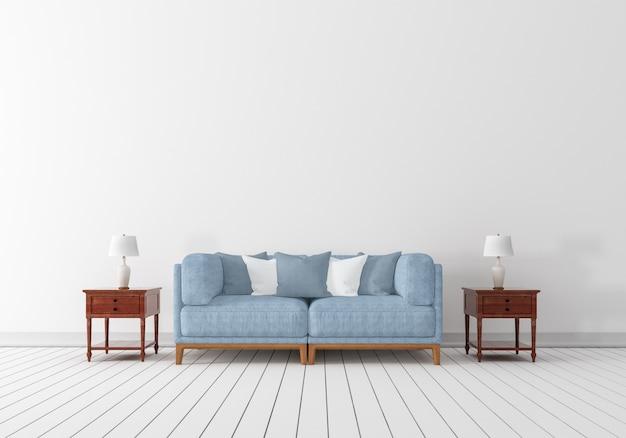 Blue sofa with wooden floor