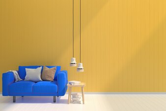 Blue sofa yellow pastel wall white wood floor background texture shine sun