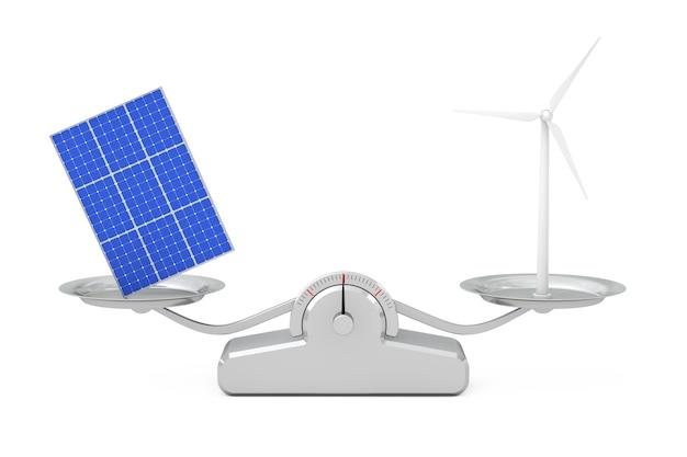 Синий образец панели солнечных батарей с ветряной турбиной ветряная мельница, балансирующая на простой весовой шкале на белом фоне. 3d рендеринг Premium Фотографии