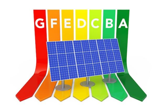 Синяя панель солнечных батарей над рейтинговой диаграммой энергоэффективности на белом фоне. 3d-рендеринг.