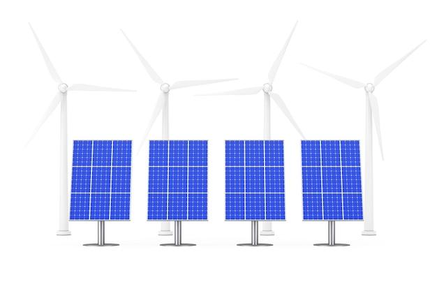 Голубые солнечные панели и ветряные мельницы на белом фоне. 3d-рендеринг.