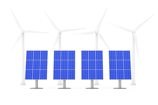 Blue solar panels and windmills on a white background. 3d rendering.
