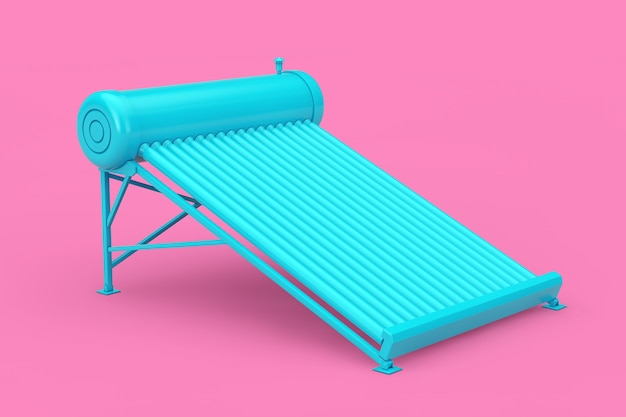 Blue solar water heater panels in duotone style on a pink background. 3d rendering