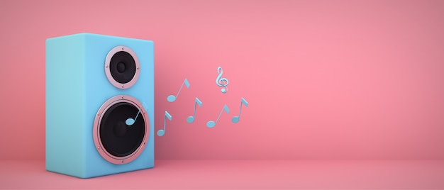 Blue speaker on pink room with copyspace