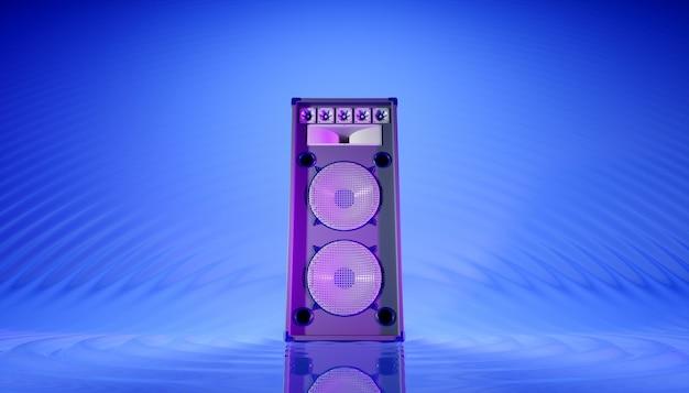 Синяя акустическая система на синем фоне в фиолетовом освещении, 3d иллюстрация