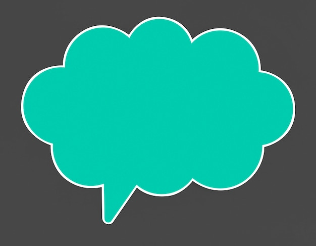 Blue speech bubble icon isolated