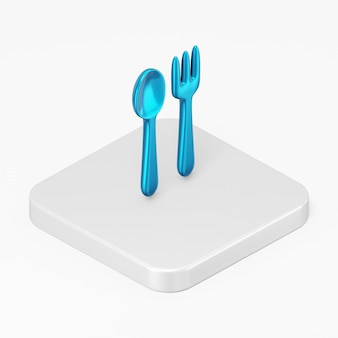 3d 렌더링 인터페이스 ui ux 요소의 파란색 숟가락과 포크 아이콘