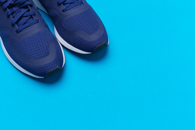 Blue sportive sneakers close up