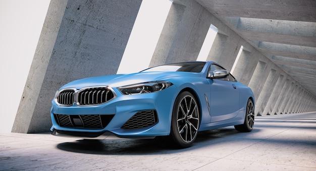 Синий спортивный автомобиль и абстрактная футуристическая бетонная архитектура. 3d визуализация