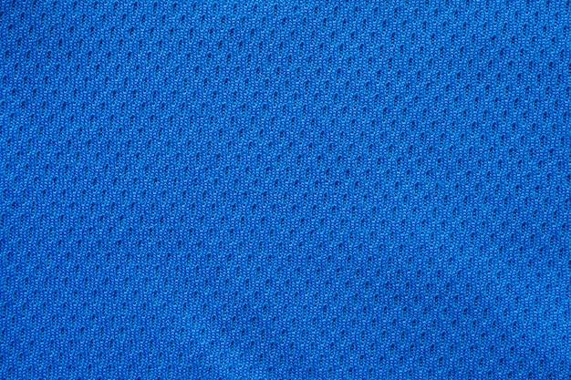 Blue sports clothing fabric football shirt jersey texture close up