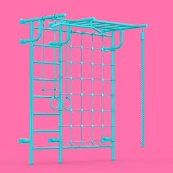 Синие настенные решетки спортивной площадки для детей в двухцветном стиле на розовом фоне. 3d рендеринг
