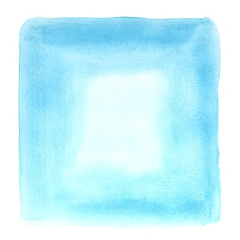 Blue square watercolor frame isolated on the white backgdound