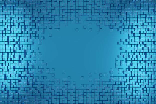파란색 사각형 패턴입니다. 3d 큐브 배경입니다.