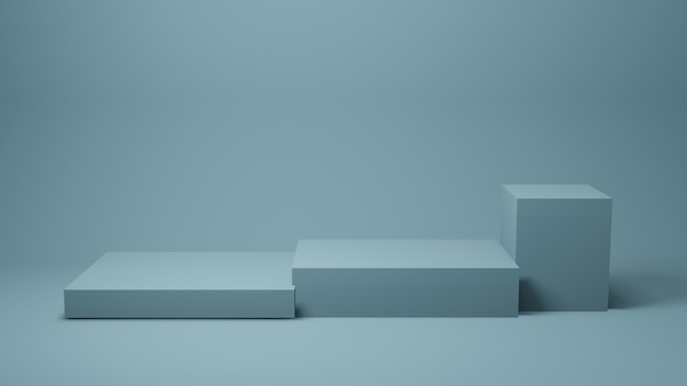 Blue stage or table on wall for present product, 3d rendering