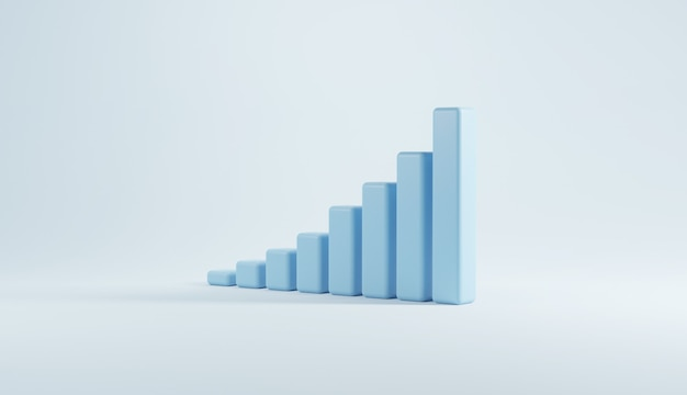 Blue stair step to growth success