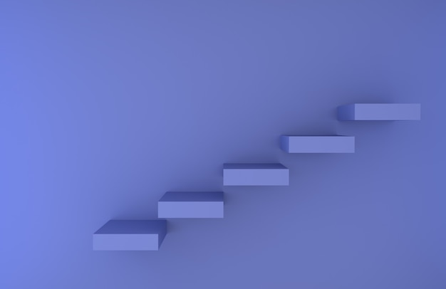 Blue stair steps rendered background