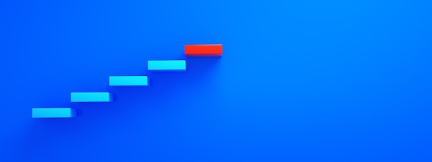 Blue stairs leading to red top step, top level or career, 3d rendering, panoramic layout