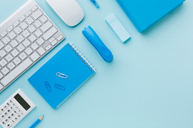Blue stationery in flat lay