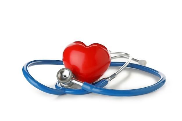 블루 청진 기 및 심장 흰색 절연