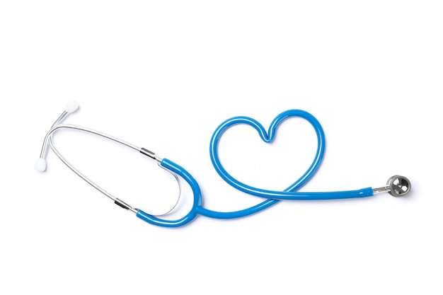 Blue stethoscope isolated on white background. healthcare