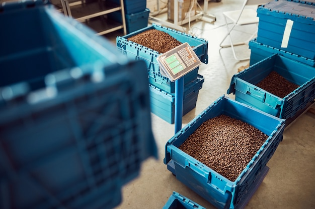 Blue storage container with roasted coffee beans on electronic scales in warehouse