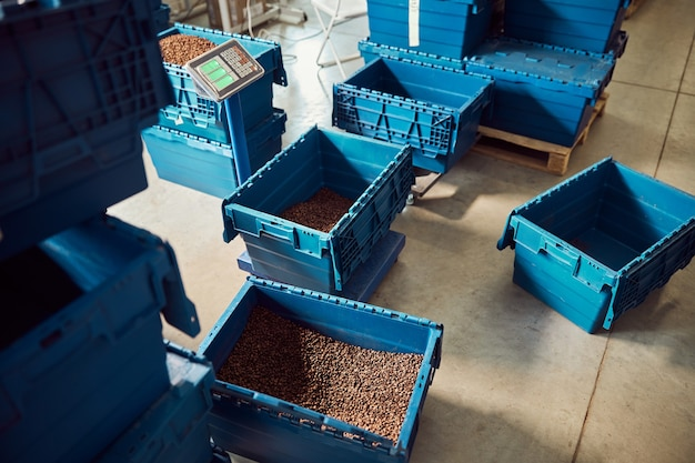 Blue storage crate with roasted coffee beans on electronic scales in warehouse